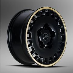 "1945DEFENDMBGS-GOLD - Kahn Design - Defender 1945 Defend Alloy Wheel in Matte Black and Gold - 8 x 18"" - Single Wheel"