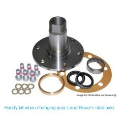 DA3195 - Front Stub Axle Kit for Range Rover Classic From JA - Stub Axle, Bearing, Gasket, Seal, and Bolts