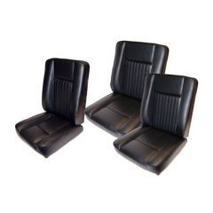 DA4298 - Deluxe Seat Kit for Series Land Rover in Black Vinyl by Britpart - Three Seat Backs and Three Seat Bases
