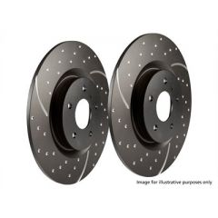 DA4855 - Defender 110 / 130 Rear Slotted and Grooved Brake Discs (Comes as a Pair) - By EBC - Relate to SDB000330