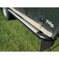 DA7011 - Tubular Black Side Steps With Chequer Plate Top For Defender 110 - By Britpart