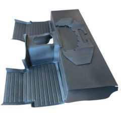 EXT009-13BK - Defender Heavy-Duty Moulded Mat System in Black by Exmoor Trim - For R380 Box 1994-2006 Defenders