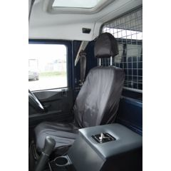 EXT018-18GRY - Front Seat Covers in Grey Nylon for Land Rover Defender Puma - Fits from 2007 Onwards