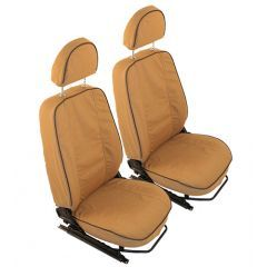 EXT019-5 - Canvas Front Seat Covers in Sand for Land Rover Defender Puma - Fits from 2007-2013 (up to BA99999 Chassis Number)