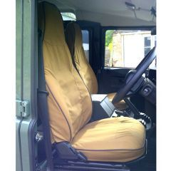 EXT019-67 - Canvas Front Seat Covers in Sand for Land Rover Defender Puma - Fits from 2013 Onwards
