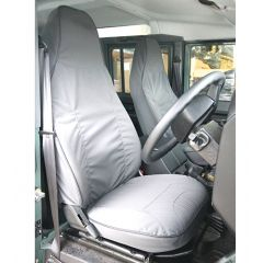 EXT019-68 - Canvas Front Seat Covers in Grey for Land Rover Defender Puma - Fits from 2013 Onwards