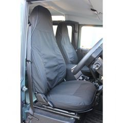EXT019-69 - Canvas Front Seat Covers in Black for Land Rover Defender Puma - Fits from 2013 Onwards