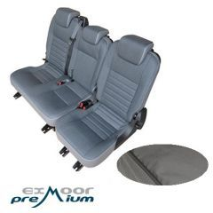 EXT019-9 - Canvas Second Row Seat Covers in Grey for Land Rover Defender Puma - Fits from 2007-2012 with 60/40 Split