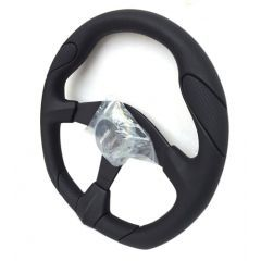 "EXT900MO-01 - Defender Momo Quark 14"" Steering Wheel with Black Leather Detailing"