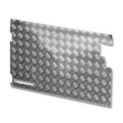 LR81 - Chequer Plate for Rear Door Casing for Defender 83-88 and Series Land Rover - No Wiper Hole - In Natural Finish