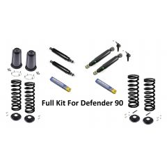 LRC1031 - Defender Front and Rear Full Suspension Kit Fits Defender 90 from 1983-1998 - Shocks, Springs, Turrets, Rings. Seats, Shock Brackets