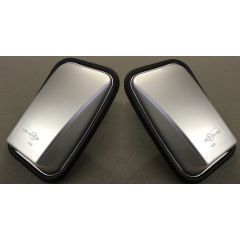 LRC1067 - Pair of Silver Gloss Mirror Head for Land Rover Defender - With Glass and Rubber Surround