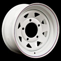 "LRC5007 - Steel Eight Spoke Wheel in White - 15"" x 8"" - Will Fit Defender, Discovery 1 and Range Rover Classic"