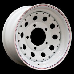 "LRC5016 - Steel Modular Wheel in White - 16"" x 7"" - Will Fit Defender, Discovery 1 and Range Rover Classic"