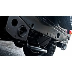 PKDEFENDERTAILPIPESX110 - Khan Design - Defender 110 Twin Crosshair Exhaust System in Stainless Steel with Rear Exhaust Shields