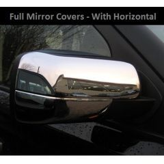 RRM271-LINE - Full Mirror Covers In Chrome With Horizontal Line - For Range Rover Sport, Discovery 3 and Freelander 2