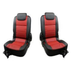 OEM Land Rover Defender Rear Seats - Third Row Premium Seats in Windor Leather - Black on Pimento - Fits from 2007 Onwards