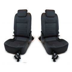 OEM Land Rover Defender Rear Seats - Third Row Premium Luxury Seats in Windor Leather - Black on Black - Fits from 2007 Onwards