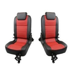 OEM Land Rover Defender Rear Seats - Third Row Premium Luxury Seats in Windor Leather - Black on Pimento - Fits from 2007 Onwards