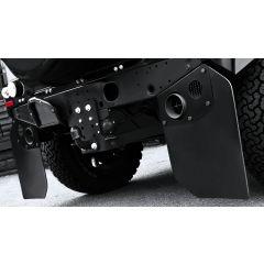PKDEFENDERTAILPIPESX - Kahn Design - Defender 90 Twin Crosshair Exhaust System in Stainless Steel with Rear Exhaust Shields