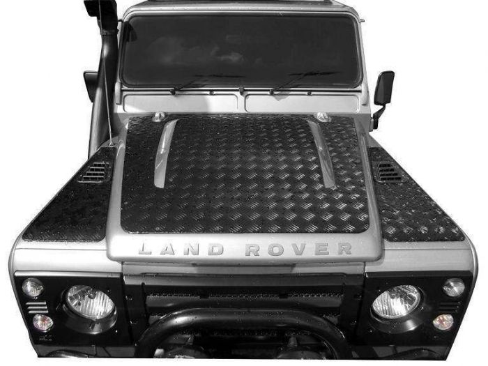Land Rover Defender PUMA 07 On Black 3mm Chequer Plate Bonnet Protector Bearmach