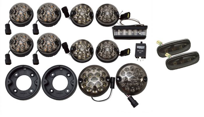 LRC1389 | Defender LED Smoked Lamp Kit in Genuine Land Rover Style -  Upgrade Kit For Front and Rear Lights Including Side Repeaters